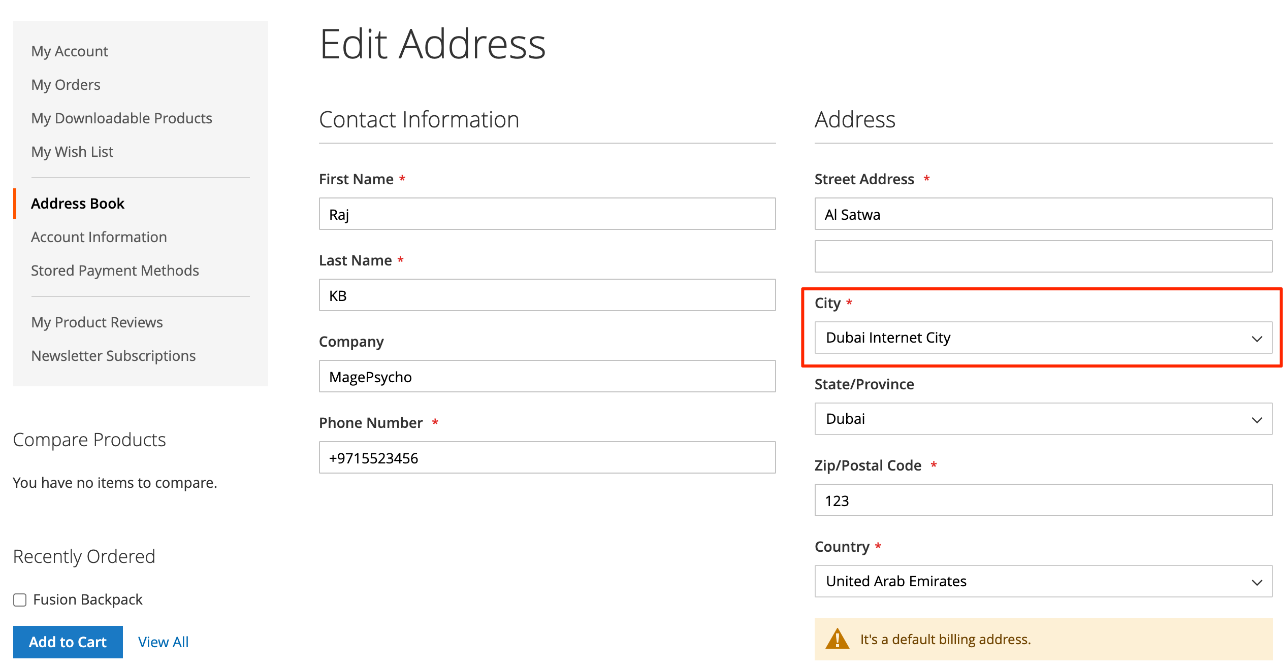 Customer Address City Dropdown
