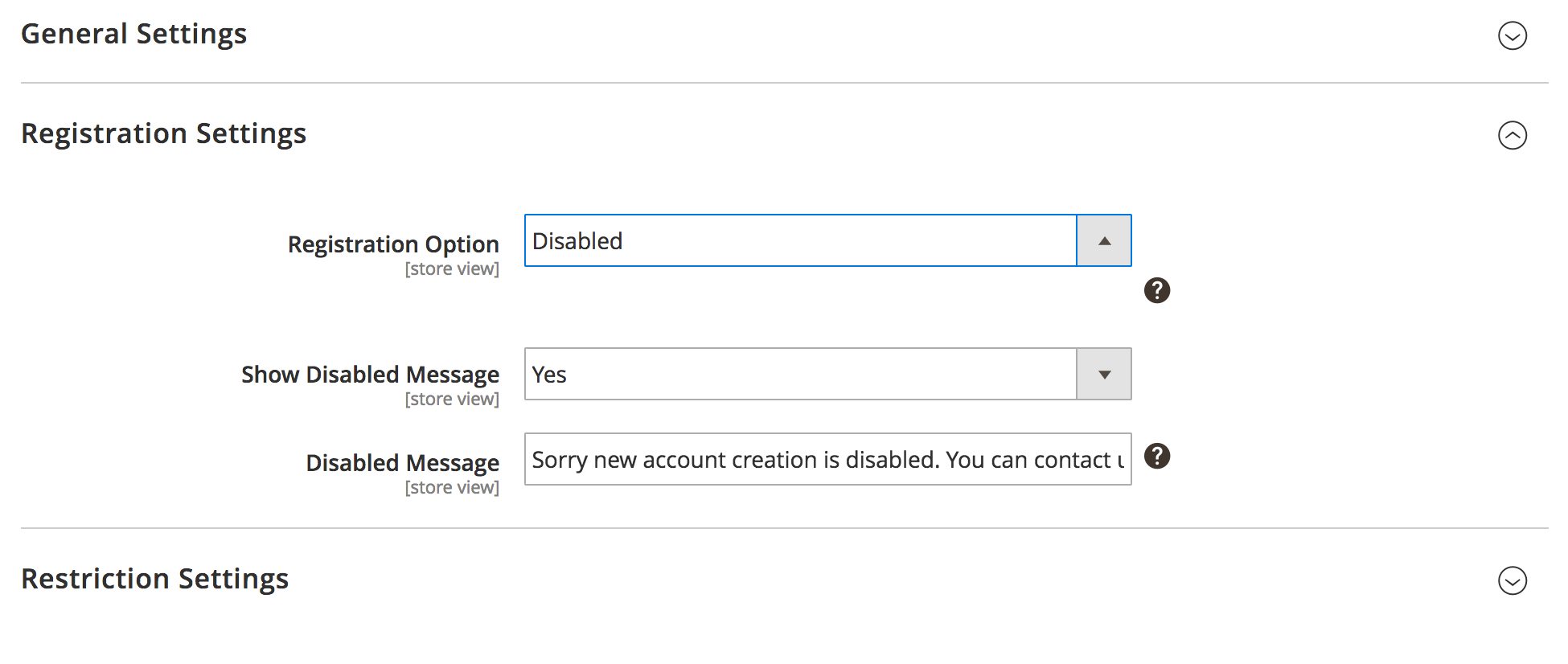 Registration Settings: Disabled Case