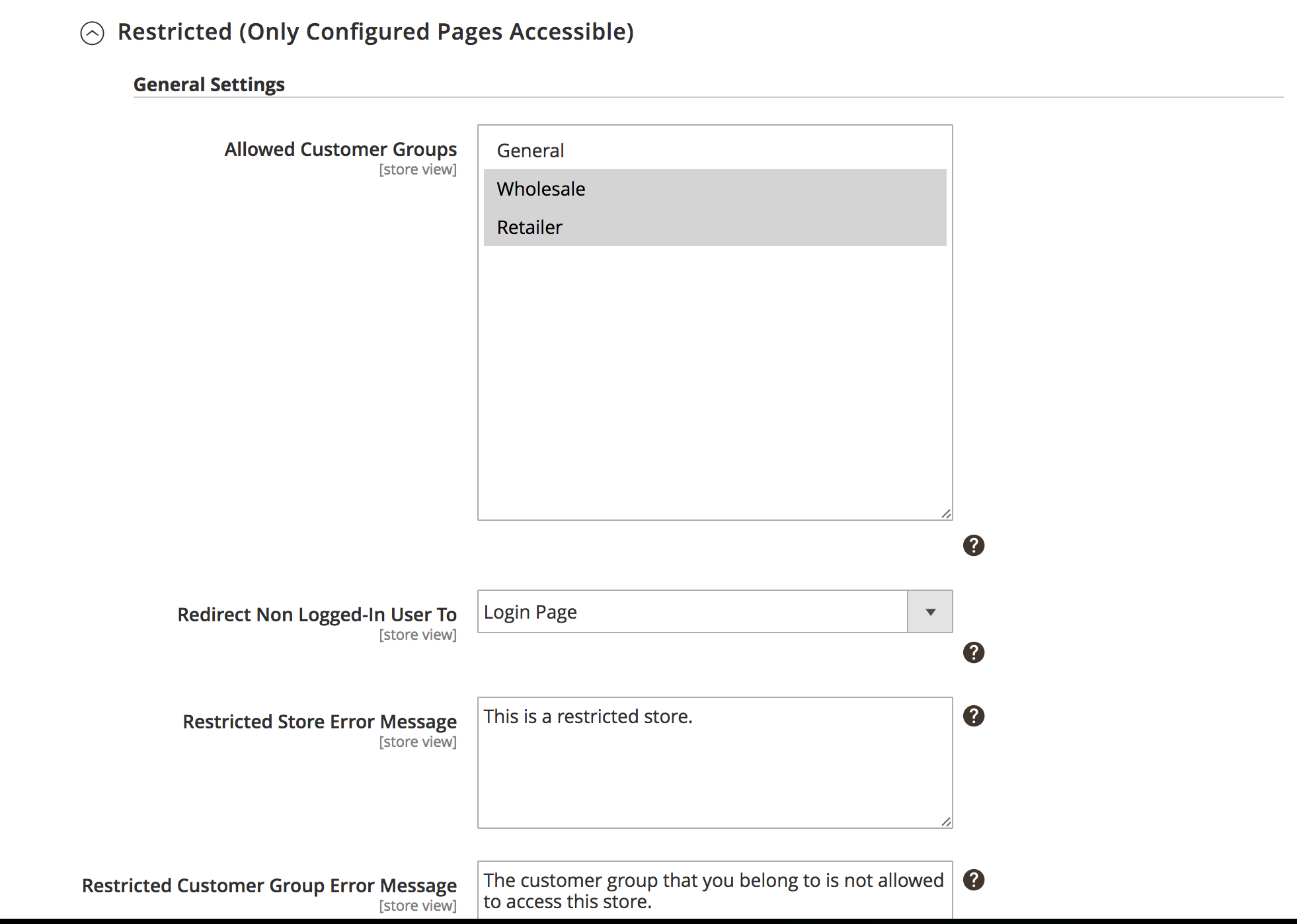 Restriction Type: Restricted (Only configured pages accessible)