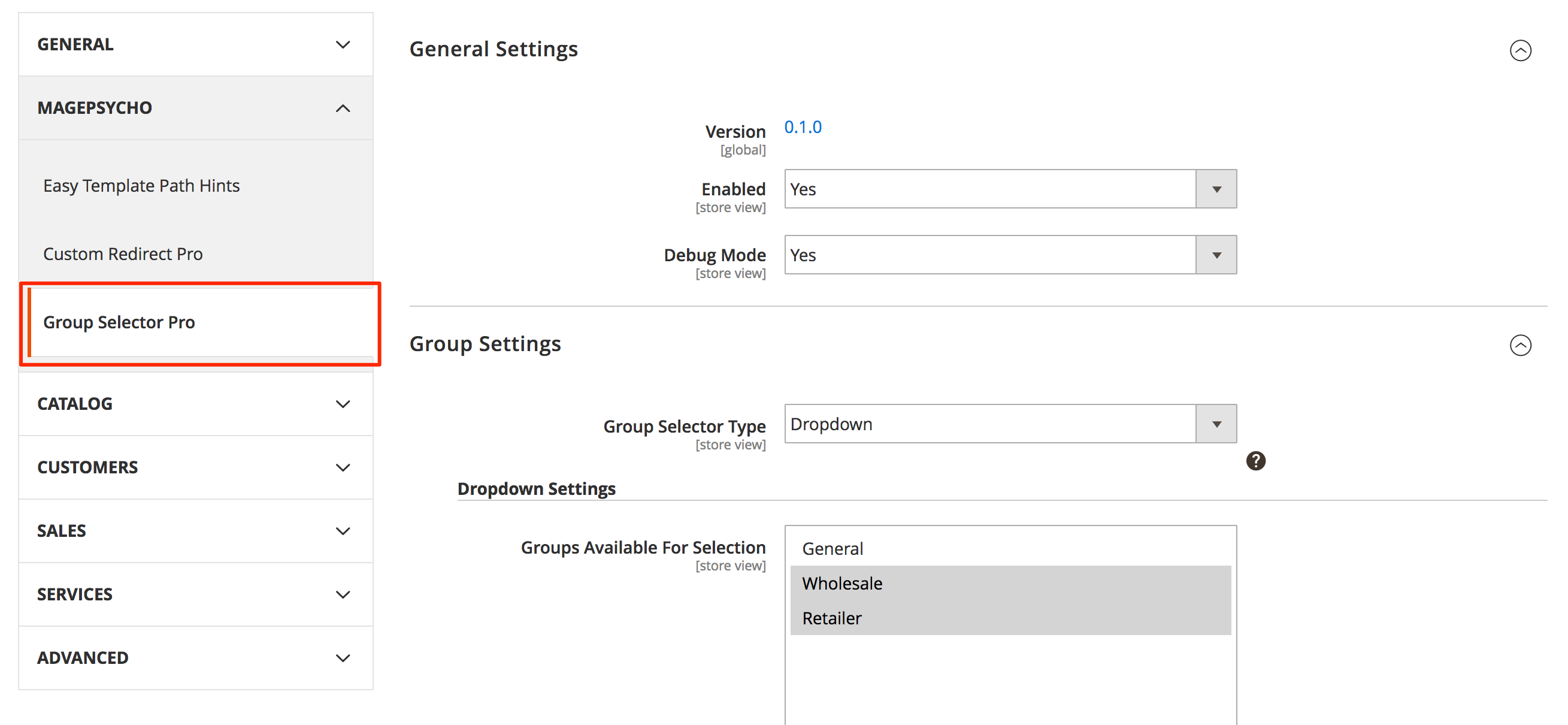 Settings: Group Selector Type - Drop-down