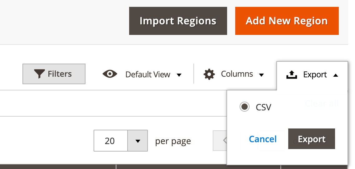 M2 Region City Dropdown - Export Regions Data